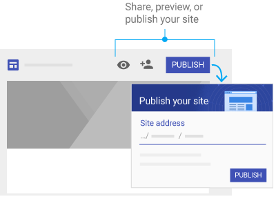 share, preview, or publish your site